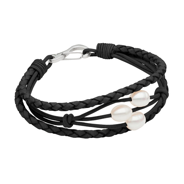 Teton Braided Scatter Bracelet - Black Bracelet Pearls by Shari
