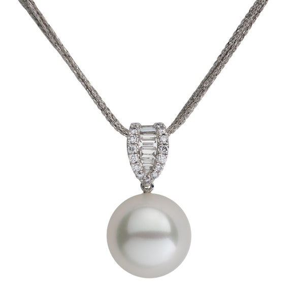 White South Sea Pearl and Diamond Waterfall Pendant