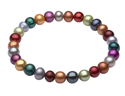 Multi Color Freshwater Stretch Bracelet-Dark Bracelet Pearls by Shari