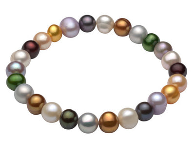 Multi Color Freshwater Stretch Bracelet-Light Bracelet Pearls by Shari