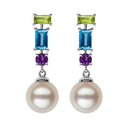 Multi-Gemstone Pearl Dangle Earrings