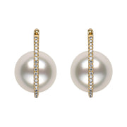 Floating Pearl Diamond Earrings