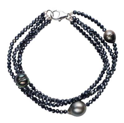 Tahitian Pearl and Navy Spinel Multi-Strand Bracelet