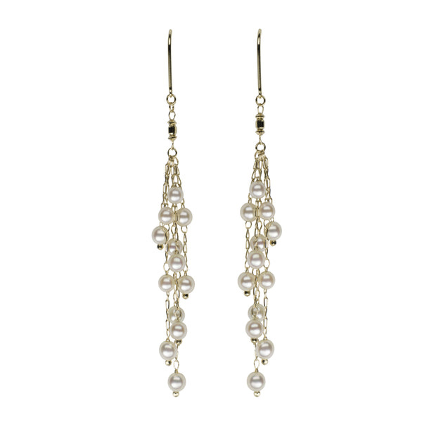 Akoya Petite Pearl Multi Strand Dangle Earrings