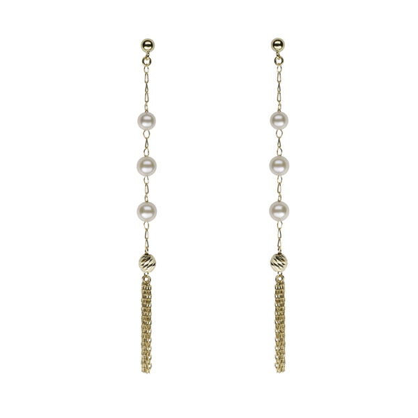 Akoya Petite Pearl Tassel Earrings