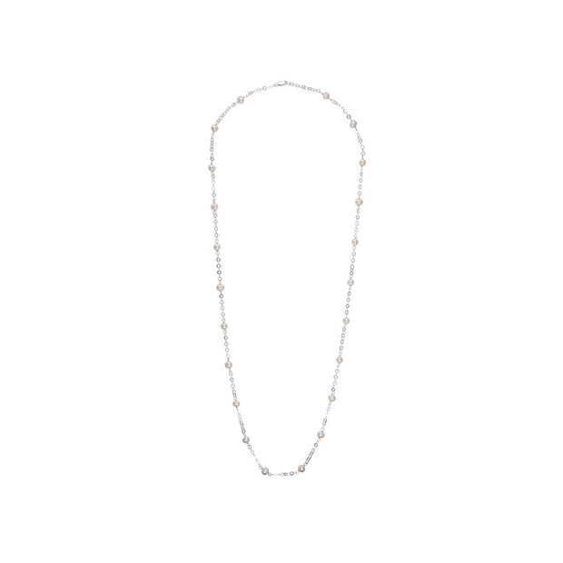 White Freshwater Pearl and Silver Circle Necklace