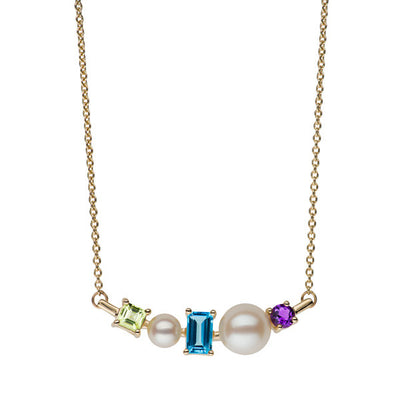 Multi Gemstone Bar Necklace Necklace Pearls by Shari