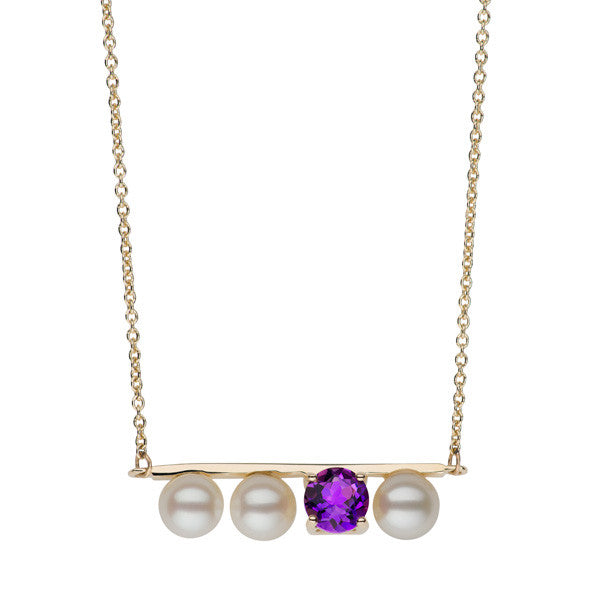 Large Amethyst and Freshwater Pearl Bar Necklace