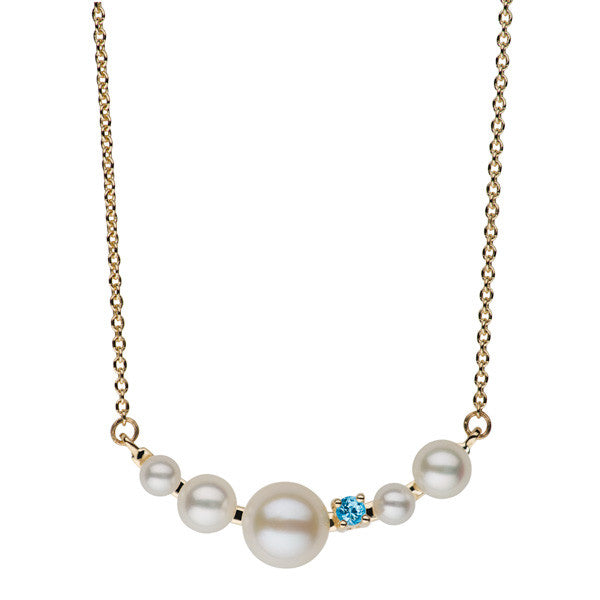 Small Blue Topaz and Freshwater Pearl Bar Necklace