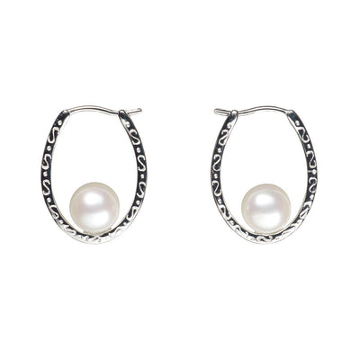 Floating Horseshoe Freshwater Pearl Earrings Earring Pearls by Shari