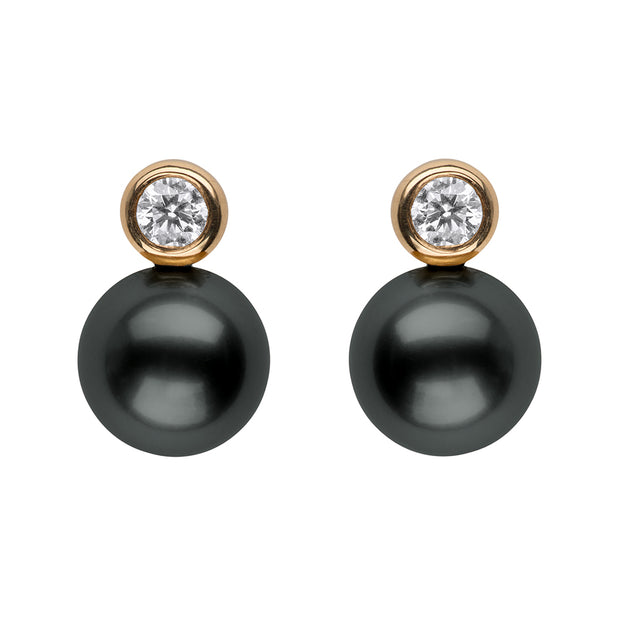 Diamond Bezel Pearl Studs Earring Studs Pearls by Shari