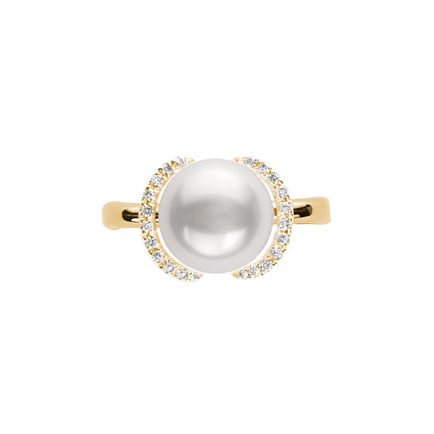 Crescent Pearl and Diamond Ring