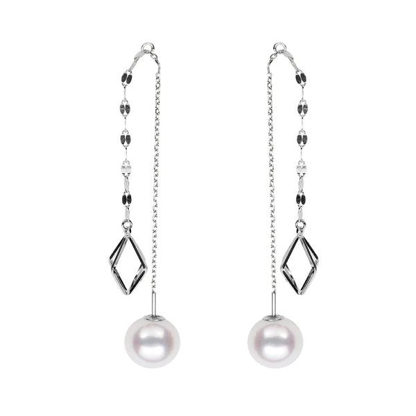 Akoya Petite Pearl Triangle Dangle Earrings