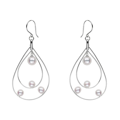 Akoya Petite Floating Pearl Hoop Earrings