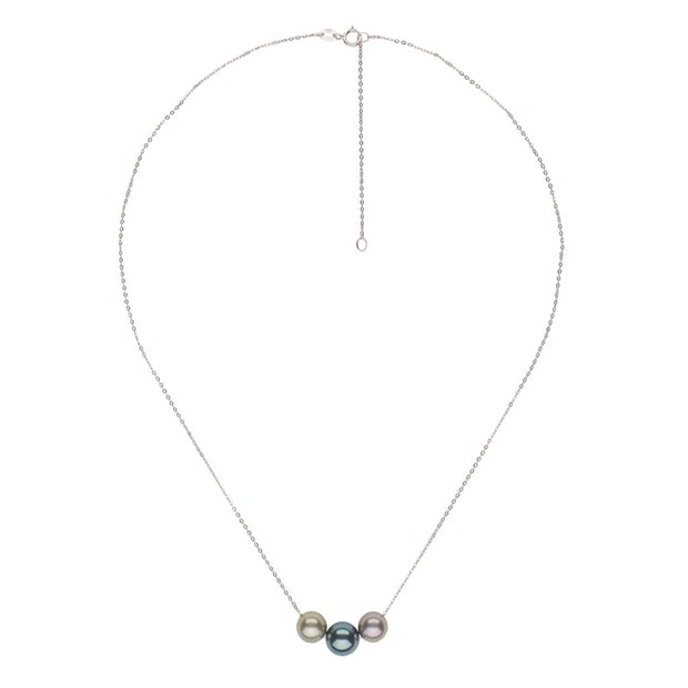Floating Multi-Color Tahitian Pearl Necklace