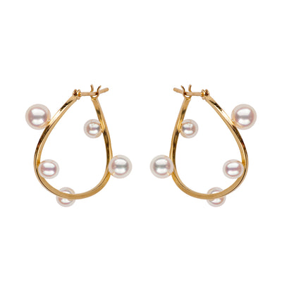 Petite Floating Multi-Pearl Hoop Earrings