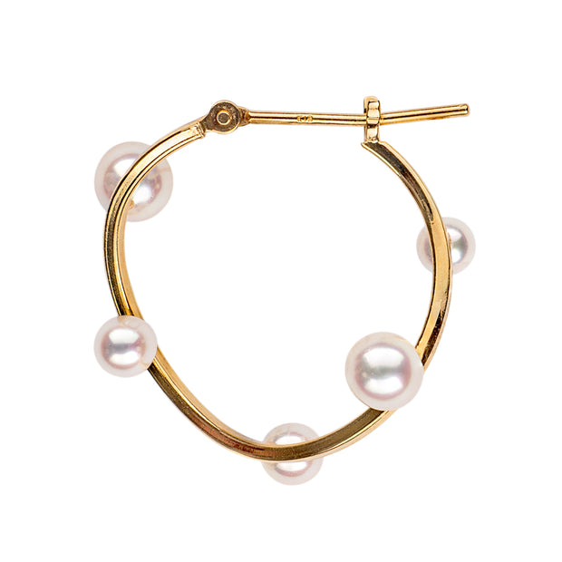 Petite Floating Pearl Classic Hoops