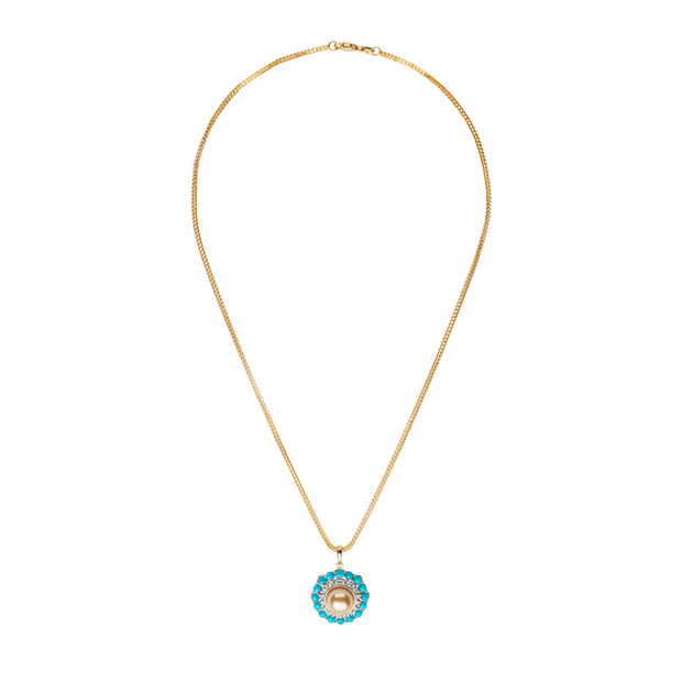 Turquoise & Pearl Pendant