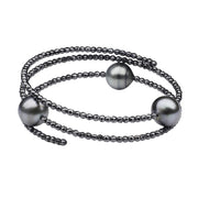 Hematite Wrap Around Bangle Bracelet Pearls by Shari