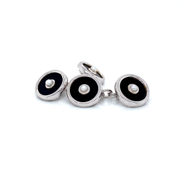 Onyx and Pearl Cufflinks  Pearls by Shari