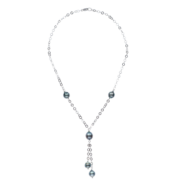 Tin Cup Circle Lariat Necklace Pearls by Shari