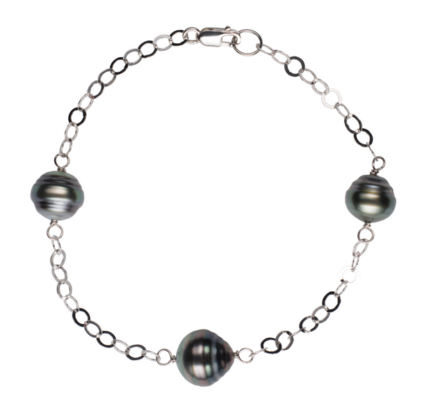 Tin Cup Circle Bracelet Bracelet Pearls by Shari