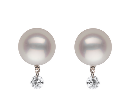 Pearl Stud with Twinkling Diamond Earring Studs Pearls by Shari