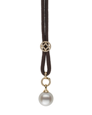 Golden South Sea Pearl and Bolo Cord Lariat