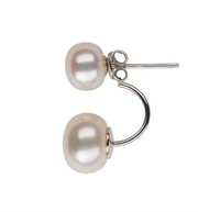 Double White Freshwater Pearl Earrings