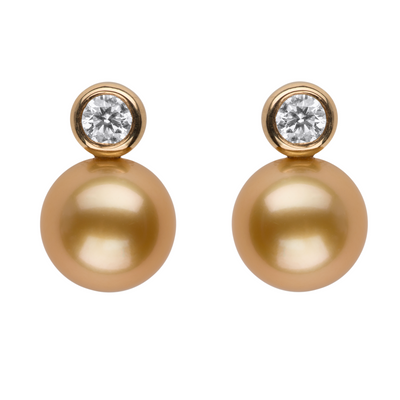 Golden South Sea Pearl Bezel Set Diamond Studs