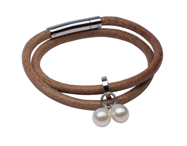 Teton Mountaineering Round Leather Bracelet/Choker Bracelet Pearls by Shari