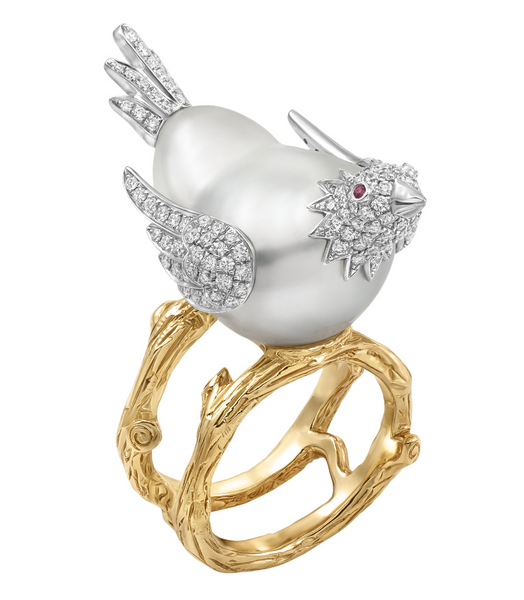 Custom White South Sea Baroque Bird Ring