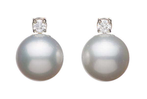 White South Sea Omega Diamond Earrings