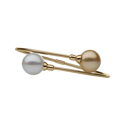 White & Golden Pearl Bangle Bracelet Bracelet Pearls by Shari