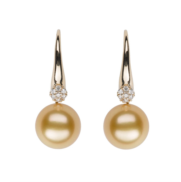 Golden South Sea Pearl and Cluster Diamond Earrings