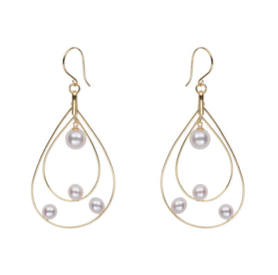 Akoya Petite Floating Pearl Hoop Earrings Earring Pearls by Shari