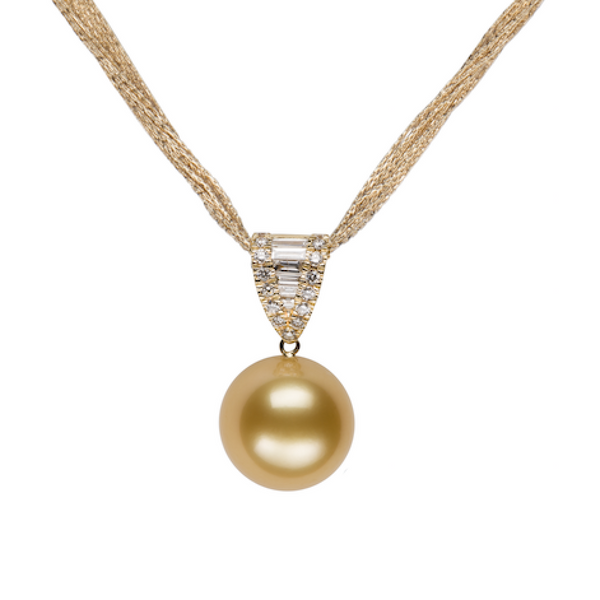 Golden South Sea Pearl Waterfall Diamond Pendant