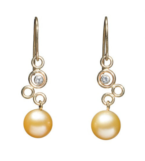 Golden South Sea Pearl and Diamond Bubble Earrings
