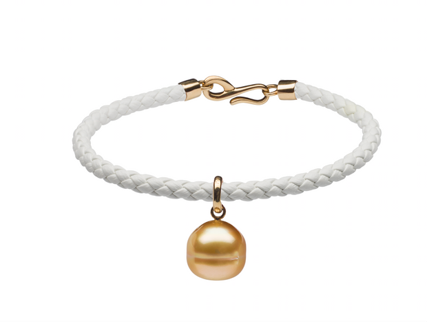 Golden South Sea Pearl & Italian Leather Charm Bracelet
