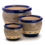 Cobalt Ceramic Planters (Set of 3)