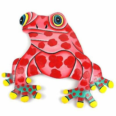 Hand Painted Metal Bullfrog Pink Spots Design Handmade and Fair Trade