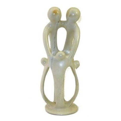 Natural 10-inch Tall Soapstone Family Sculpture - 2 Parents 3 Children Handmade and Fair Trade