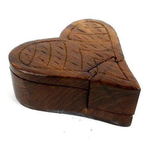Handcrafted Sheesham Wood Heart Puzzle Box Handmade and Fair Trade