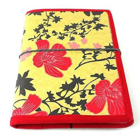Spring Flower Journal with Red Trim Handmade and Fair Trade