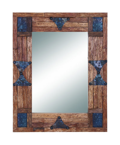 Bohemian Wood Mirror Edged with Metallic Baubles