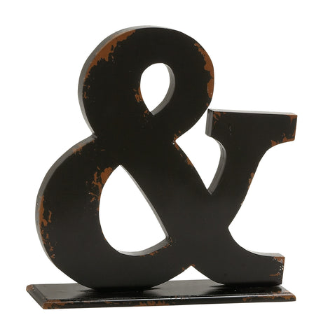 Large Ampersand-Shaped (&) Wood Accent Piece