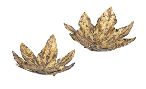 Gold Leaf Decorative Trays - Set of 2