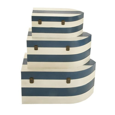 Blue and White Nautical Trunks - Set of Three