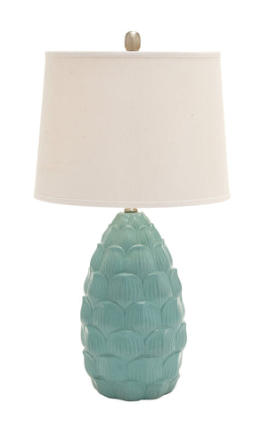 Green Polystone Flower Petal Table Lamp