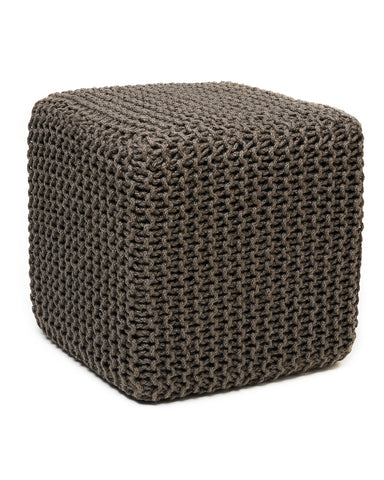 Gray Square Jute Pouf